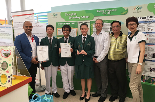 Sodexo partners students from Zhonghua Secondary School, emerging as champions in the 2016 Environmental Challenge for Schools