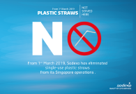 Sodexo Singapore eliminates all single-use plastic straws from 1st March